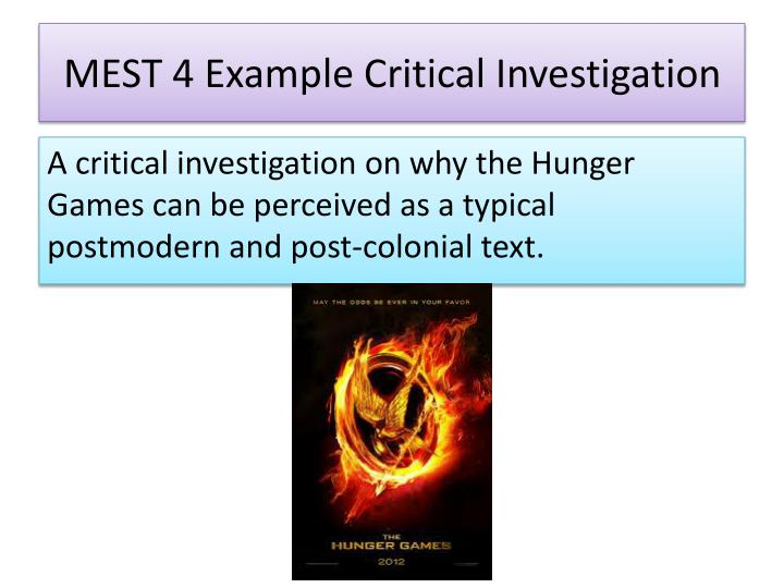 MEST 4 Example Critical Investigation
