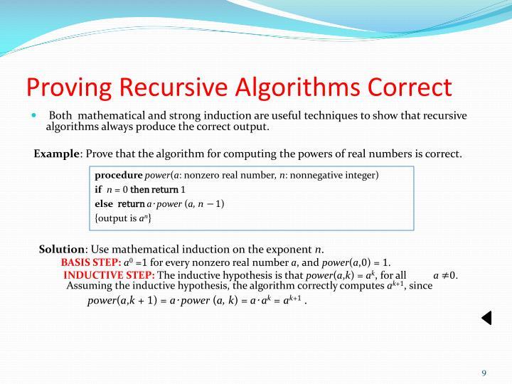 Proving Recursive Algorithms Correct