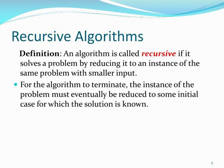 Recursive algorithms1