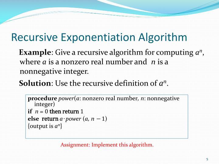 Recursive Exponentiation Algorithm