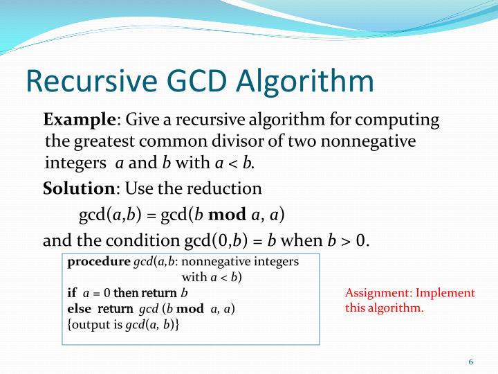 Recursive GCD Algorithm