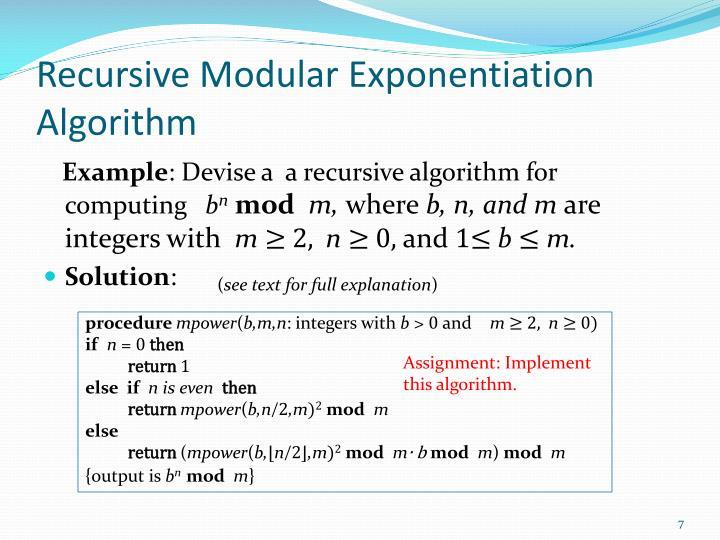 Recursive Modular Exponentiation Algorithm