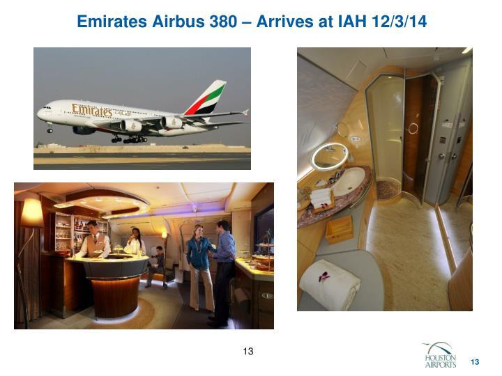 Emirates Airbus 380 – Arrives at IAH 12/3/14