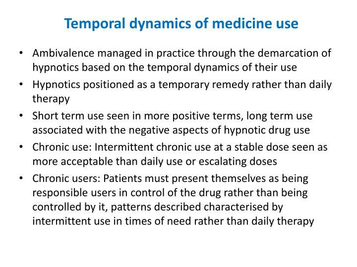 Temporal dynamics of medicine use