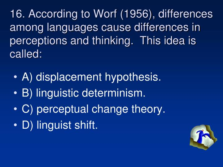16. According to Worf (1956), differences among languages cause differences in perceptions and thinking.  This idea is called:
