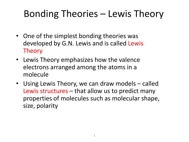 PPT - Bonding Theories – Lewis Theory PowerPoint