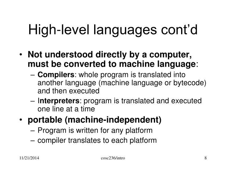 High-level languages cont'd