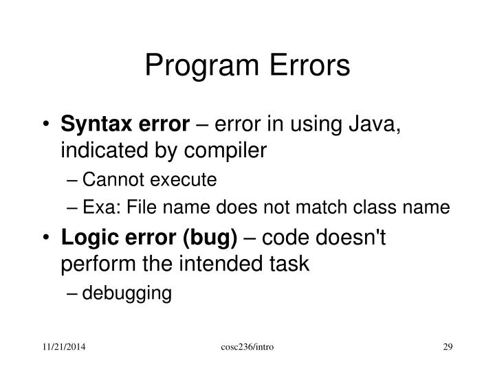 Program Errors