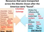 resources that were transported across the atlantic ocean after the americas were found
