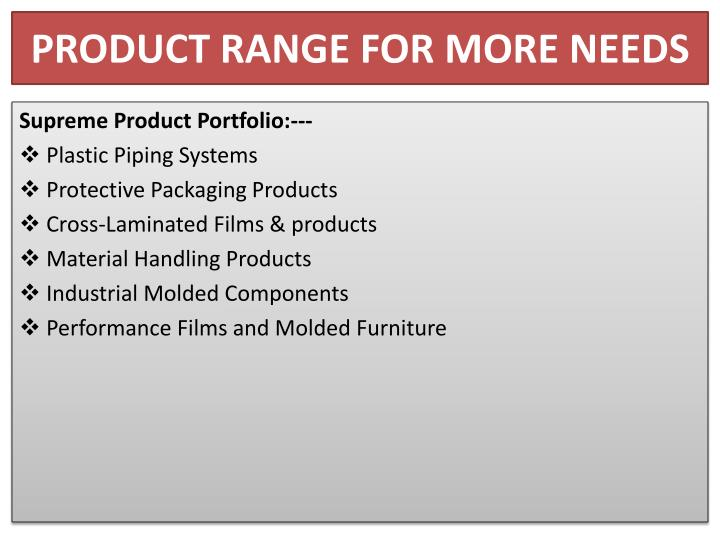 PRODUCT RANGE FOR MORE NEEDS