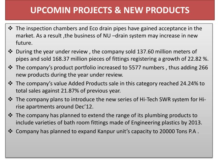 UPCOMIN PROJECTS & NEW PRODUCTS