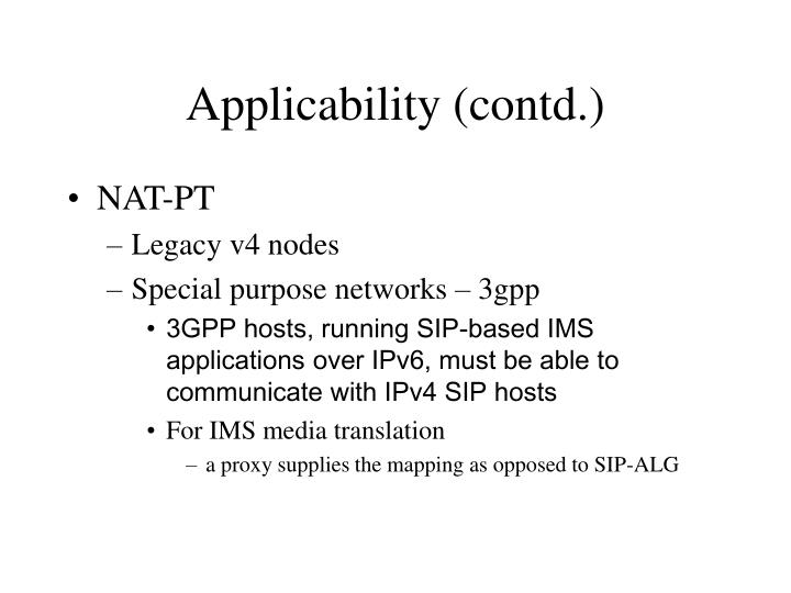 Applicability (contd.)
