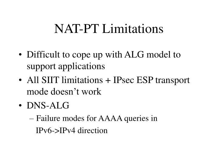 NAT-PT Limitations