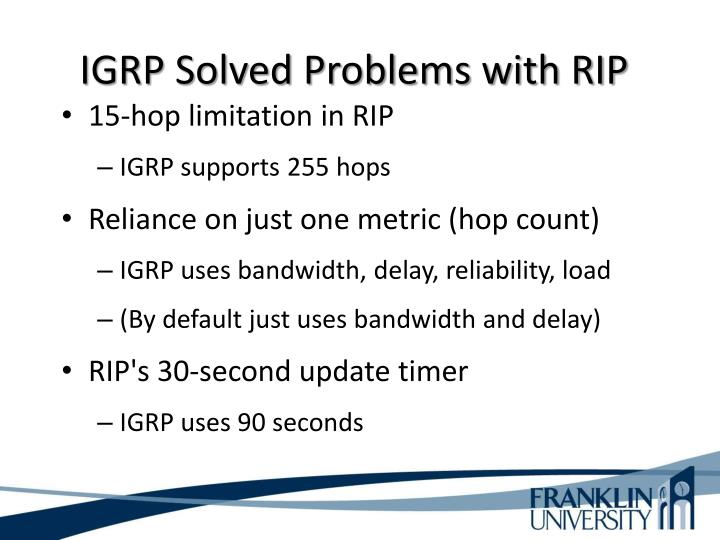IGRP Solved Problems with RIP