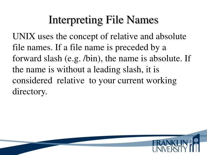 Interpreting File Names