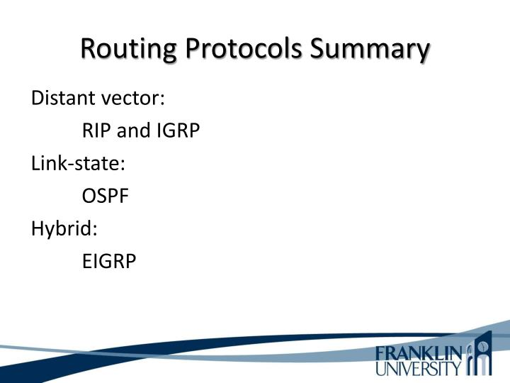 Routing Protocols Summary