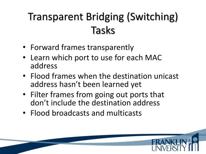 Transparent Bridging (Switching) Tasks