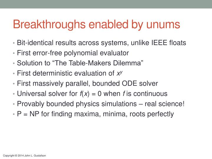 Breakthroughs enabled by unums