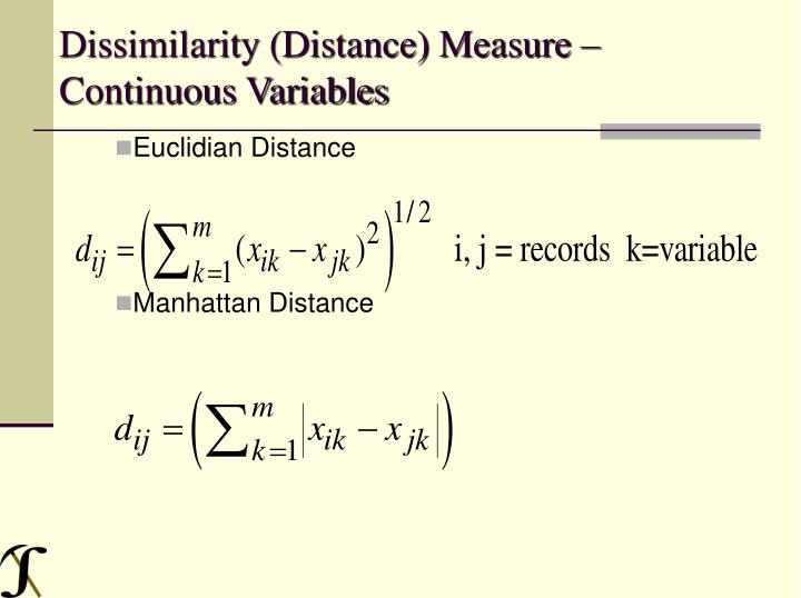 Dissimilarity (Distance) Measure – Continuous Variables
