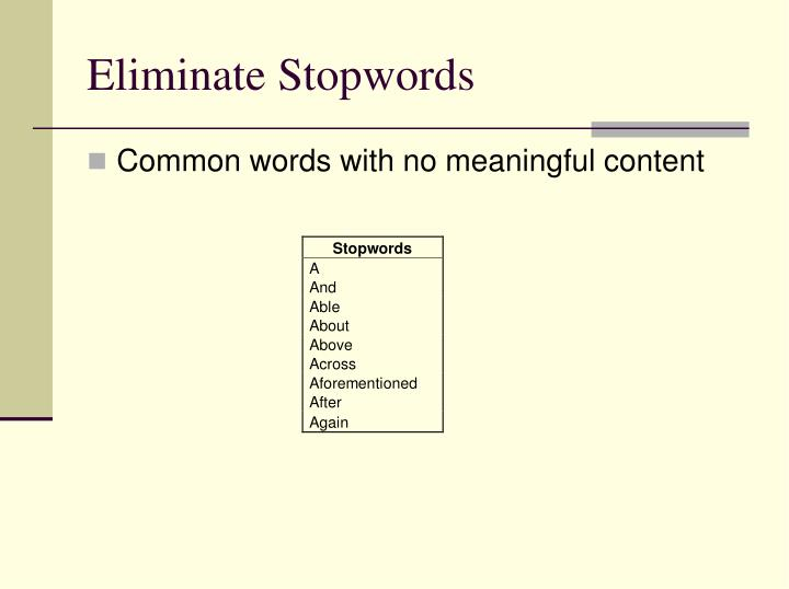 Eliminate Stopwords