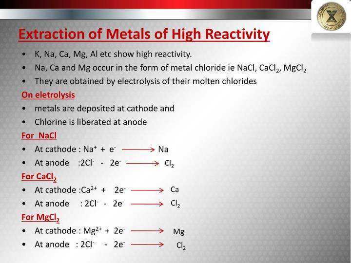 Extraction of Metals of High Reactivity