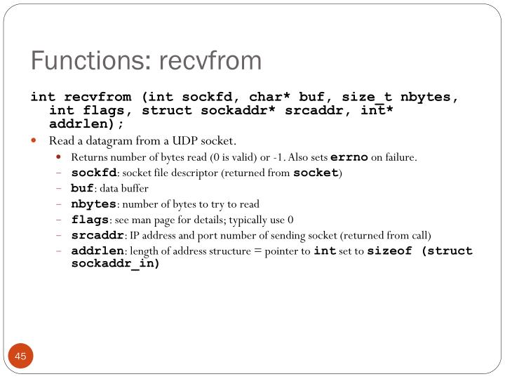 Functions: recvfrom