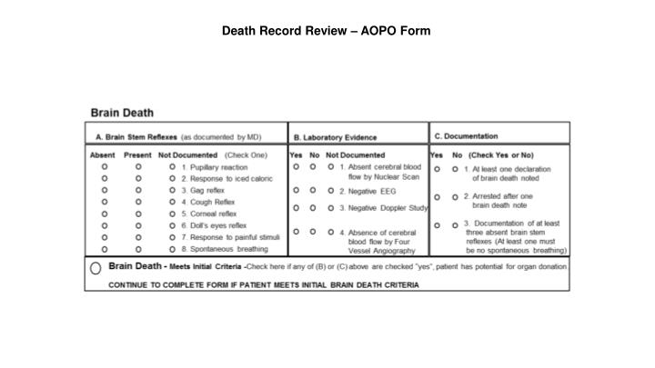 Death Record Review – AOPO Form