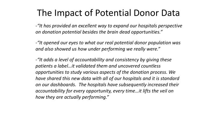 The Impact of Potential Donor Data