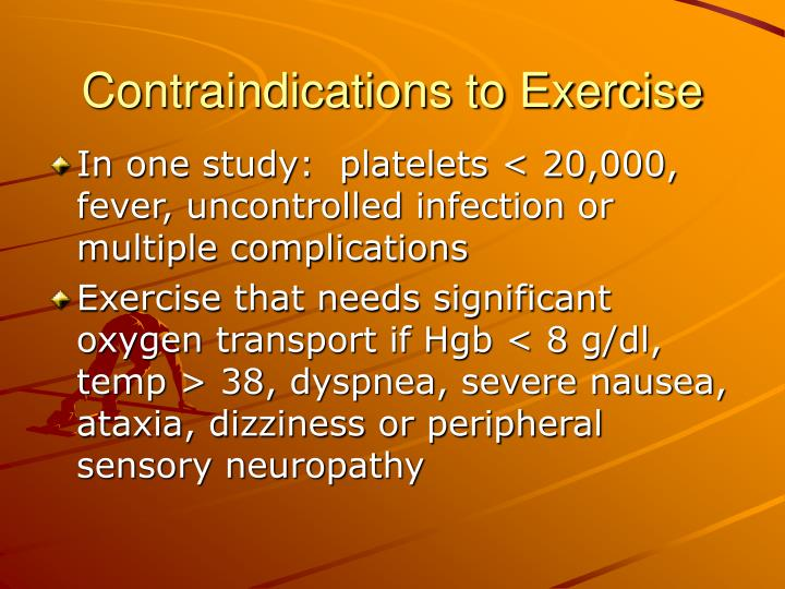 Contraindications to Exercise
