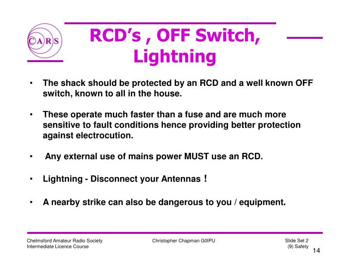 RCD's , OFF Switch,