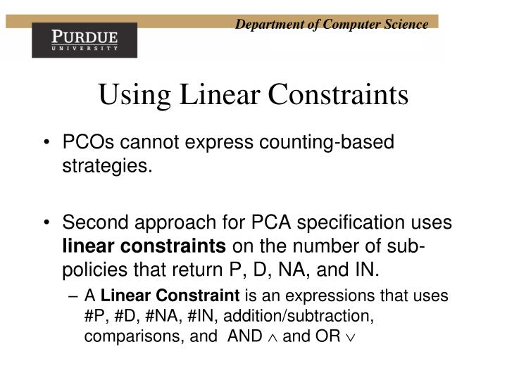 Using Linear Constraints