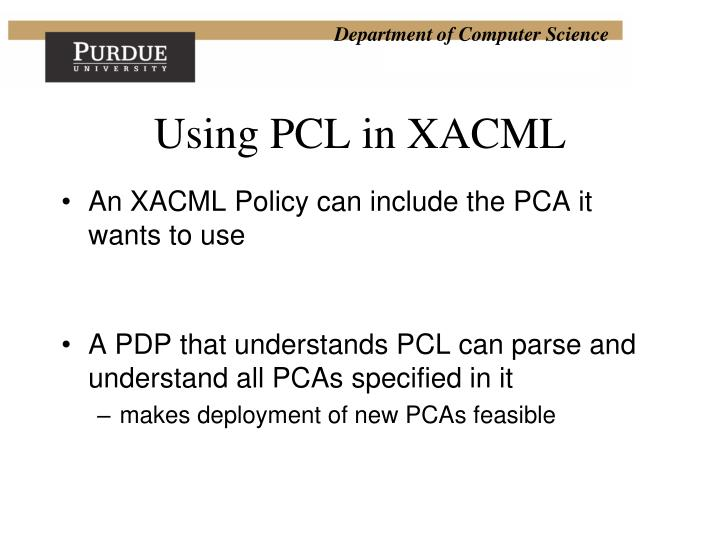 Using PCL in XACML