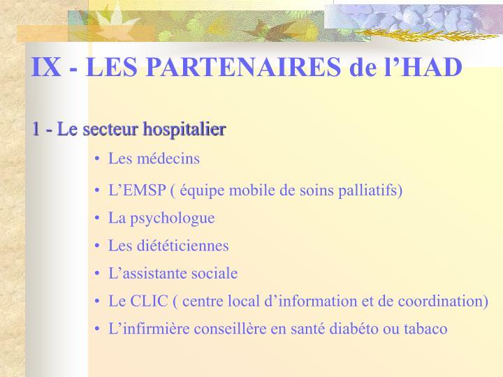 IX - LES PARTENAIRES de l'HAD