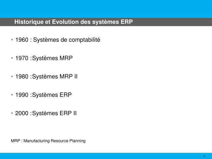 Historique et Evolution des systèmes ERP