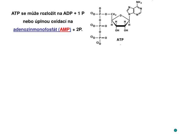 ATP se může rozložit na ADP + 1 P