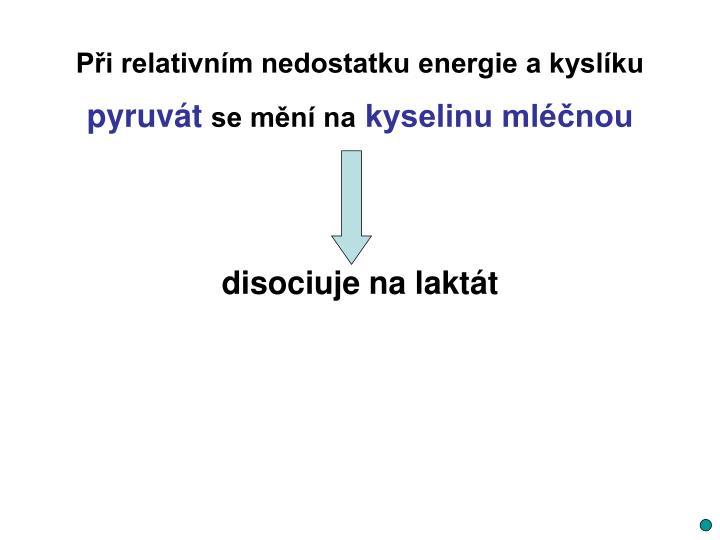 Při relativním nedostatku energie a kyslíku