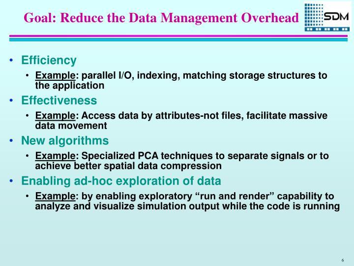 Goal: Reduce the Data Management Overhead
