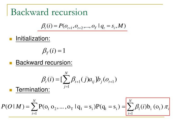 Backward recursion