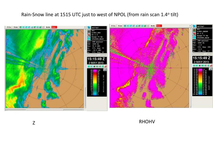 Rain-Snow line at 1515 UTC just to west of NPOL (from rain scan 1.4