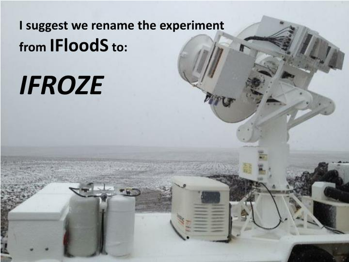 I suggest we rename the experiment from