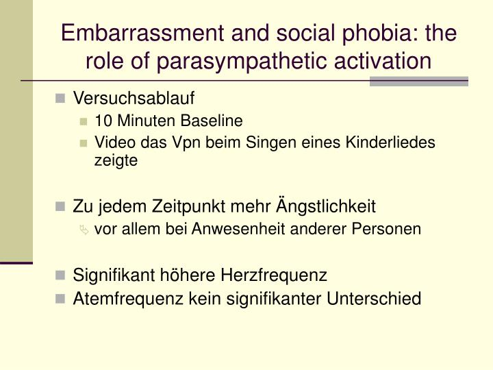 Embarrassment and social phobia: the role of parasympathetic activation