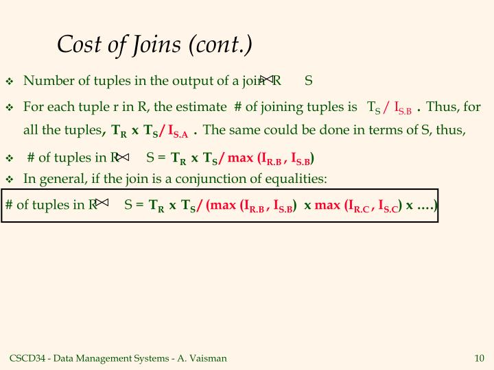 Cost of Joins (cont.)