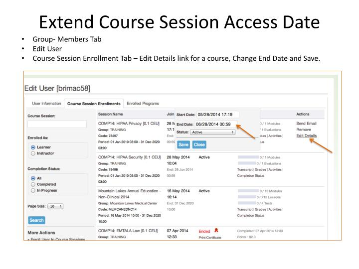 Extend Course Session Access Date