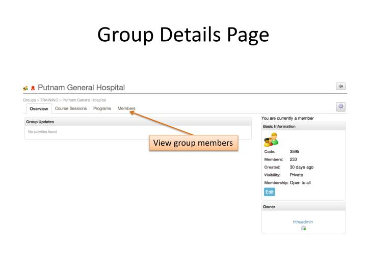 Group Details Page
