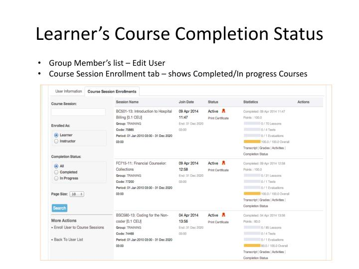 Learner's Course Completion Status