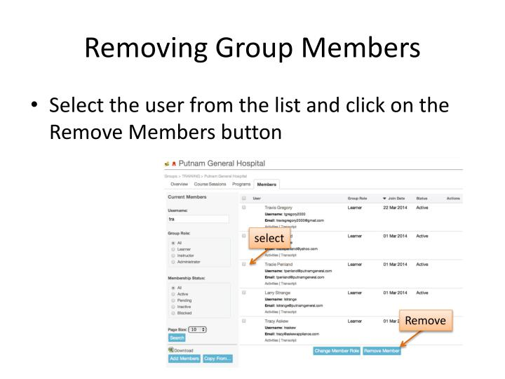 Removing Group Members