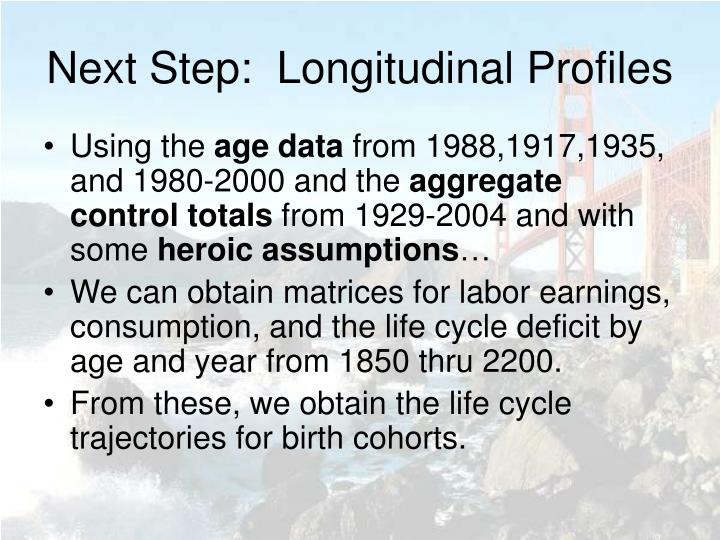 Next Step:  Longitudinal Profiles