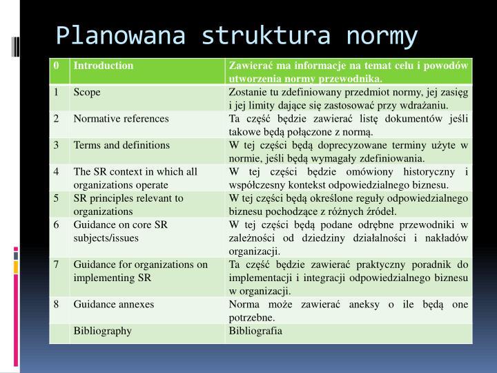 Planowana struktura normy