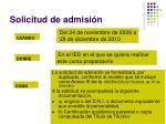 solicitud de admisi n