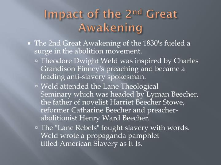 compare the 1st and 2nd great awakening essay Second great awakening essaysin early 19th century america, the second great awakening was not only a powerful and radical religious movement but also a vehicle by.